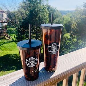 2x Starbucks Cold Cup Black/Brown Tortoise Shell